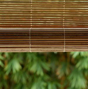 Elegant Outdoor Matchstick Roll Up Blinds Carbonized Color High Flatness